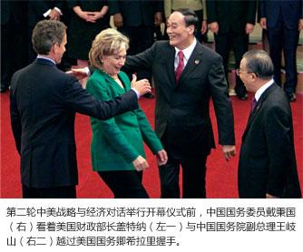 第二轮中美战略与经济对话举行开幕仪式前,中国国务委员戴秉国(右)看着美国财政部长盖特纳(左一)与中国国  务院副总理王岐山(右二)越过美国国务卿希拉里握手。